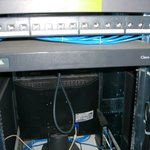 Rear view top patch panel + router